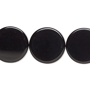 Bead, Black Onyx (dyed), 18mm Flat Round, B Grade, Mohs Hardness 6-1/2 7. Sold Per 16-inch Strand 9962GS
