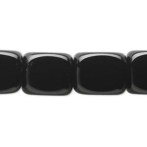 Bead, Black Onyx (dyed), 15x12mm Rounded Cube, B Grade, Mohs Hardness 6-1/2 7. Sold Per 16-inch Strand 9970GS
