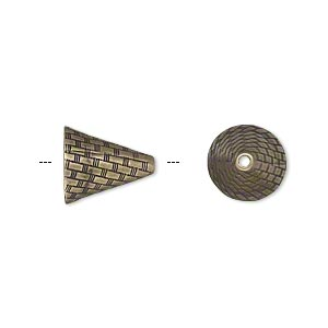Cone, JBB Findings, Antiqued Brass, 12x10.5mm Woven Texture, Fits 10-14mm Beads. Sold Individually 7275ABR