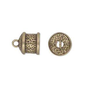 Cord End, Glue-in, JBB Findings, Antiqued Brass, 11x11mm Textured Round Tube, 9mm Inside Diameter. Sold Per Pkg 2 7314ABR