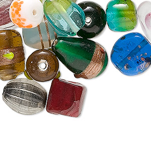 Bead Mix, Glass, Mixed Color, 9x9mm-24x11mm Mixed Shape Design. Sold Per 1/4 Kilogram Pkg, Approximately 120 Beads