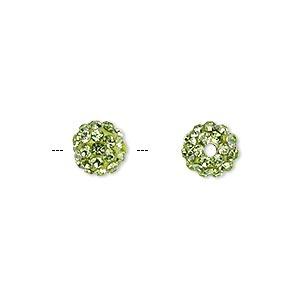 Bead, Glass Rhinestone / Epoxy / Resin, Green, 8mm Round. Sold Individually