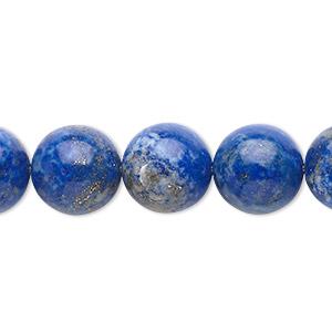Bead, Lapis Lazuli (natural), 12mm Round, C Grade, Mohs Hardness 5 6. Sold Per 15-inch Strand