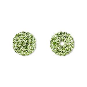 Bead, Glass Rhinestone / Epoxy / Resin, Green, 12mm Round. Sold Individually