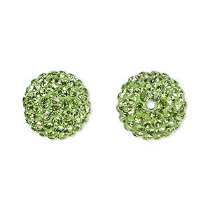 Bead, Glass Rhinestone / Epoxy / Resin, Green, 14mm Round. Sold Individually