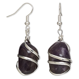 Fishhook Earrings Grade C Amethyst