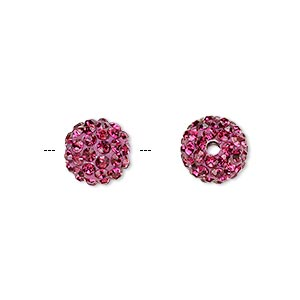 Bead, Glass Rhinestone / Epoxy / Resin, Fuchsia, 10mm Round. Sold Individually