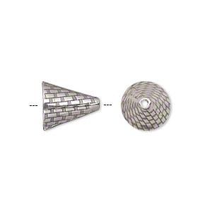 Cone, JBB Findings, Antiqued Sterling Silver, 12x10.5mm Woven Texture, Fits 10-14mm Beads. Sold Individually 7275AN