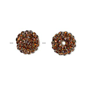 Bead, Glass Rhinestone / Epoxy / Resin, Brown, 12mm Round. Sold Individually
