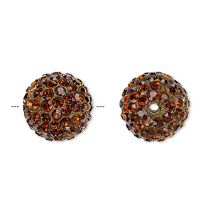 Bead, Glass Rhinestone / Epoxy / Resin, Brown, 14mm Round. Sold Individually