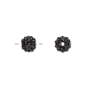 Bead, Glass Rhinestone / Epoxy / Resin, Black, 8mm Round. Sold Individually