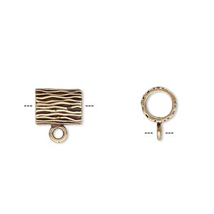 Bead, JBB Findings, Antiqued Brass, 9.5x7.5mm Round Tube Line Design Loop, 5mm Hole. Sold Individually 8592ABR-5MM ID