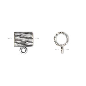 Bead, JBB Findings, Antique Silver-plated Brass, 9.5x7.5mm Round Tube Line Design Loop, 5mm Hole. Sold Individually 8592BRASP-5MM ID