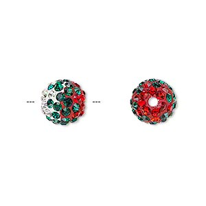 Bead, Egyptian Glass Rhinestone / Epoxy / Resin, Multicolored, 10mm Round Pavé Wave Design. Sold Individually