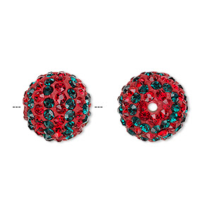 Bead, Egyptian Glass Rhinestone / Epoxy / Resin, Red Dark Green, 14mm Round Pavé Striped Design. Sold Individually