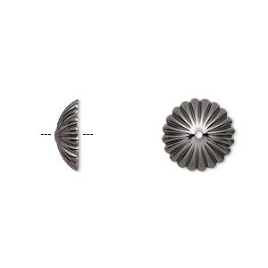 Bead Cap, Gunmetal-plated Brass, 12x4mm Ribbed Round, Fits 12-14mm Bead. Sold Per Pkg 50