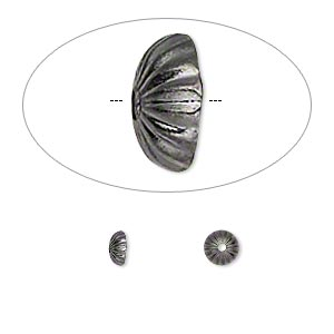 Bead Cap, Gunmetal-plated Brass, 5x2mm Ribbed Round, Fits 5-7mm Bead. Sold Per Pkg 100