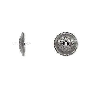 Bead Cap, Gunmetal-plated Brass, 12x2mm Round Stamped Design, Fits 12-16mm Bead. Sold Per Pkg 50