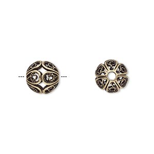 Bead, JBB Findings, Antiqued Brass, 9mm Filigree Round. Sold Individually 8290ABR