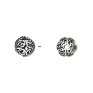 Bead, JBB Findings, Antique Silver-plated Brass, 9mm Filigree Round. Sold Individually 8290BRASP