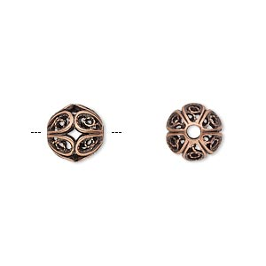 Bead, JBB Findings, Antique Copper-plated Brass, 9mm Filigree Round. Sold Individually 8290BRACO