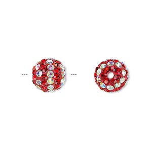 Bead, Egyptian Glass Rhinestone / Epoxy / Resin, Red Clear AB, 10mm Round Pavé Striped Design. Sold Individually
