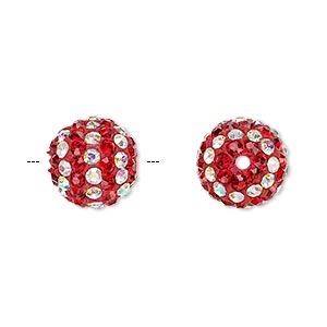 Bead, Egyptian Glass Rhinestone / Epoxy / Resin, Red Clear AB, 12mm Round Pavé Striped Design. Sold Individually
