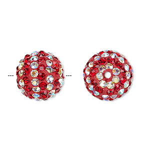 Bead, Egyptian Glass Rhinestone / Epoxy / Resin, Red Clear AB, 14mm Round Pavé Striped Design. Sold Individually