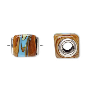 Bead, Dione®, Lampworked Glass Silver-plated Brass Grommets, Opaque Multicolored, 14x12mm Cube, 5mm Hole. Sold Per Pkg 6 A1070GL
