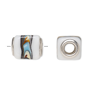 Bead, Dione®, Lampworked Glass Silver-plated Brass Grommets, Opaque Multicolored, 14x12mm Cube, 5mm Hole. Sold Per Pkg 6 A1071GL