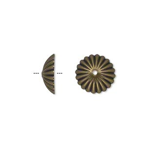Bead Cap, Antique Gold-plated Brass, 12x4mm Ribbed Round, Fits 12-14mm Bead. Sold Per Pkg 50
