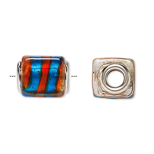 Bead, Dione®, Lampworked Glass Silver-plated Brass Grommets, Multicolored Silver-colored Foil, 14x12mm Cube Stripe, 5mm Hole. Sold Per Pkg 4 A1074GL