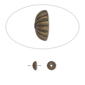 Bead Cap, Antique Gold-plated Brass, 5x2mm Ribbed Round, Fits 5-7mm Bead. Sold Per Pkg 100