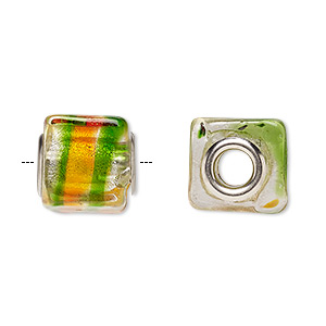 Bead, Dione®, Lampworked Glass Silver-plated Brass Grommets, Multicolored Silver-colored Foil, 14x12mm Cube Stripe, 5mm Hole. Sold Per Pkg 4 A1077GL
