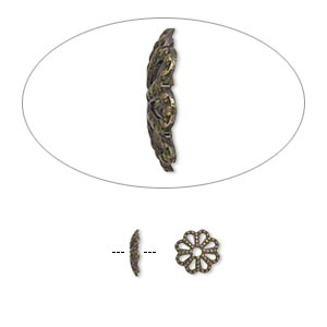 Bead Cap, Antique Gold-plated Brass, 6x1mm Fancy Round Cutout Pattern, Fits 6-8mm Bead. Sold Per Pkg 100