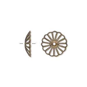 Bead Cap, Antique Gold-plated Brass, 13x3mm Fancy Round Cutout Pattern, Fits 13-16mm Bead. Sold Per Pkg 50