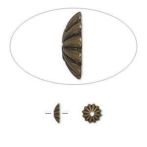 Bead Cap, Antique Gold-plated Brass, 6x2mm Ribbed Round, Fits 6-8mm Bead. Sold Per Pkg 100