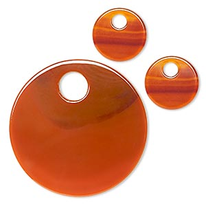Focal Drop, Red Agate (dyed), (1) 52mm (2) 20mm Round Go-go, B Grade, Mohs Hardness 6-1/2 7. Sold Per 3-piece Set