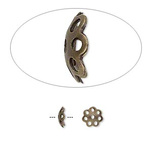 Bead Cap, Antique Gold-plated Brass, 6x2mm Round Cutout Pattern, Fits 6-8mm Bead. Sold Per Pkg 100
