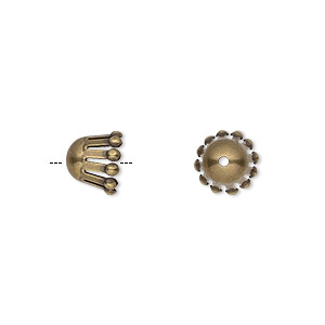 Bead Cap, Antique Gold-plated Brass, 9x7mm Long Round Ball Ends, Fits 9-12mm Bead. Sold Per Pkg 50