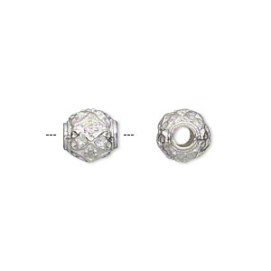 "Bead, Silver-plated ""pewter"" (zinc-based Alloy), 9mm Fancy Round 3mm Hole. Sold Per Pkg 10"