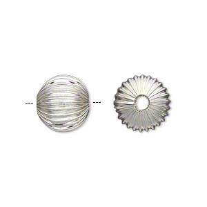 "Bead, Silver-plated ""pewter"" (zinc-based Alloy), 12mm Hollow Corrugated Round 2.75mm Hole. Sold Per Pkg 10"