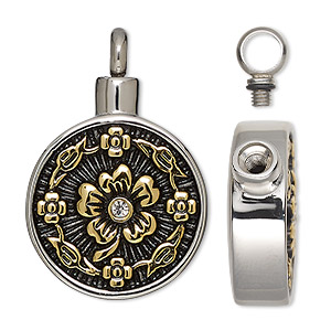 8mm x 30mm Stainless Steel 2 Tone Half IP Gold Colored Cylinder with Cosmic Double Ring Pendant