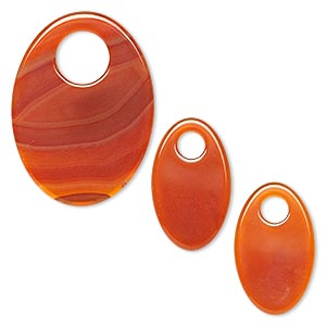 Focal Drop, Red Agate (dyed), (1) 38x26mm (2) 26x16mm Oval Go-go, B Grade, Mohs Hardness 6-1/2 7. Sold Per 3-piece Set