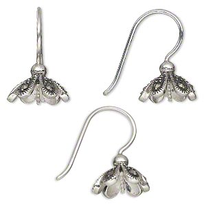 Earwire, Marcasite (natural) Antiqued Sterling Silver, 20mm Fishhook Flower Petal 0.8mm Twisted Peg, 18 Gauge. Sold Per Pair