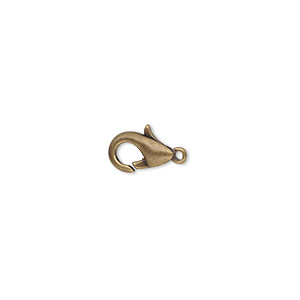 Clasp, Lobster Claw, Antique Gold-plated Brass, 10x6mm. Sold Per Pkg 10
