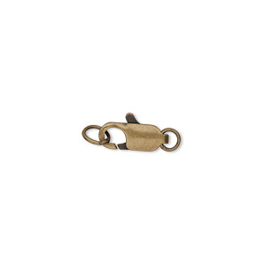 Clasp, Lobster Claw, Antique Gold-plated Brass, 10x5mm Ring. Sold Per Pkg 10
