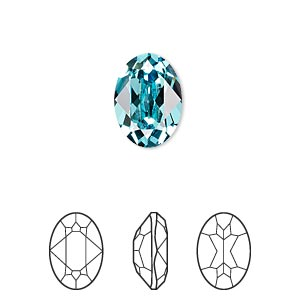 Embellishment, Swarovski® Crystal Rhinestone, Crystal Passions®, Light Turquoise, Foil Back, 14x10mm Faceted Oval Fancy Stone (4120). Sold Individually 4120