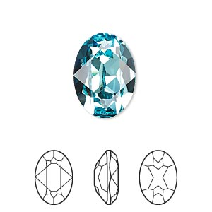 Embellishment, Swarovski® Crystal Rhinestone, Crystal Passions®, Light Turquoise, Foil Back, 18x13mm Faceted Oval Fancy Stone (4120). Sold Per Pkg 6 4120