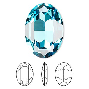 Embellishment, Swarovski® Crystal Rhinestone, Light Turquoise, Foil Back, 30x22mm Faceted Oval Fancy Stone (4127). Sold Per Pkg 24 4127